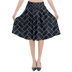 Brick2 Black Marble & Gray Leather Flared Midi Skirt by trendistuff