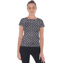 Brick2 Black Marble & Gray Leather (r) Short Sleeve Sports Top