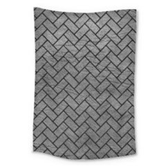 Brick2 Black Marble & Gray Leather (r) Large Tapestry by trendistuff