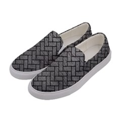 Brick2 Black Marble & Gray Leather (r) Women s Canvas Slip Ons by trendistuff