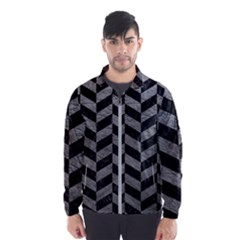 Chevron1 Black Marble & Gray Leather Wind Breaker (men) by trendistuff