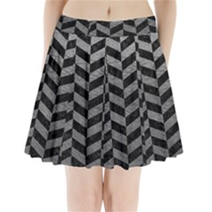 Chevron1 Black Marble & Gray Leather Pleated Mini Skirt by trendistuff