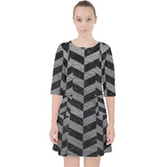 Chevron1 Black Marble & Gray Leather Pocket Dress