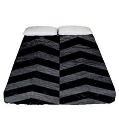 Chevron2 Black Marble & Gray Leather Fitted Sheet (queen Size) by trendistuff