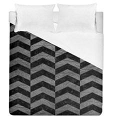 Chevron2 Black Marble & Gray Leather Duvet Cover (queen Size) by trendistuff