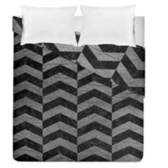 Chevron2 Black Marble & Gray Leather Duvet Cover Double Side (queen Size) by trendistuff