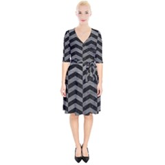 Chevron2 Black Marble & Gray Leather Wrap Up Cocktail Dress
