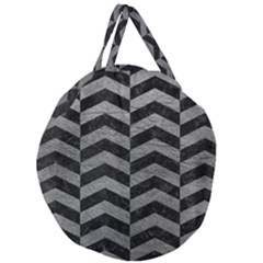 Chevron2 Black Marble & Gray Leather Giant Round Zipper Tote