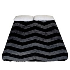 Chevron3 Black Marble & Gray Leather Fitted Sheet (california King Size) by trendistuff