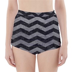 Chevron3 Black Marble & Gray Leather High Waisted Bikini Bottoms