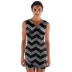 Chevron3 Black Marble & Gray Leather Wrap Front Bodycon Dress by trendistuff