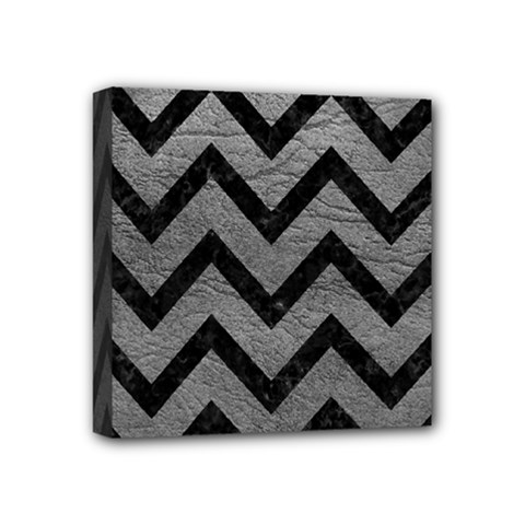 Chevron9 Black Marble & Gray Leather (r) Mini Canvas 4  X 4  by trendistuff