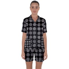 Circles1 Black Marble & Gray Leather Satin Short Sleeve Pyjamas Set by trendistuff