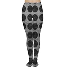 Circles1 Black Marble & Gray Leather (r) Women s Tights by trendistuff