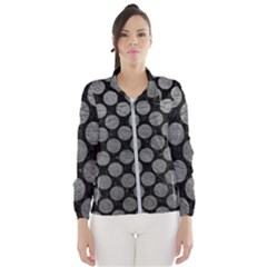 Circles2 Black Marble & Gray Leather Wind Breaker (women)