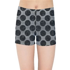 Circles2 Black Marble & Gray Leather (r) Kids Sports Shorts
