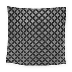 Circles3 Black Marble & Gray Leather (r) Square Tapestry (large) by trendistuff