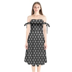 Circles3 Black Marble & Gray Leather (r) Shoulder Tie Bardot Midi Dress by trendistuff