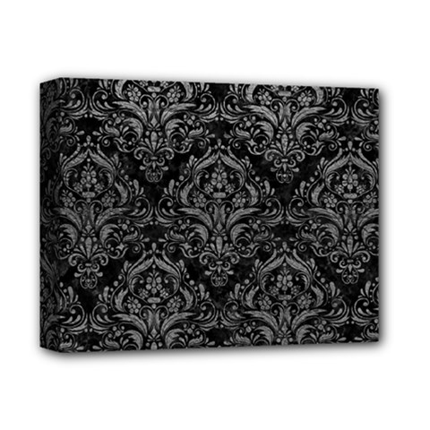 Damask1 Black Marble & Gray Leather Deluxe Canvas 14  X 11  by trendistuff