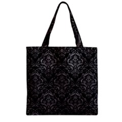 Damask1 Black Marble & Gray Leather Zipper Grocery Tote Bag by trendistuff