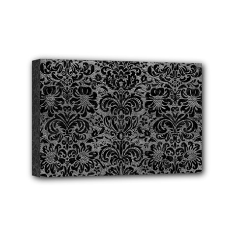 Damask2 Black Marble & Gray Leather (r) Mini Canvas 6  X 4