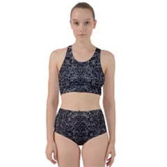 Damask2 Black Marble & Gray Leather (r) Racer Back Bikini Set