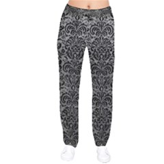 Damask2 Black Marble & Gray Leather (r) Drawstring Pants
