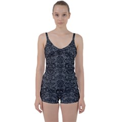 Damask2 Black Marble & Gray Leather (r) Tie Front Two Piece Tankini