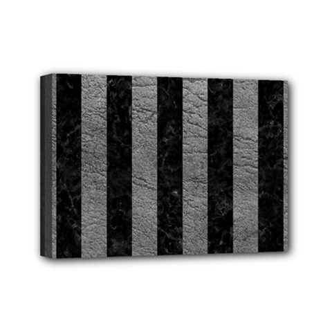Stripes1 Black Marble & Gray Leather Mini Canvas 7  X 5