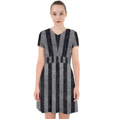 Stripes1 Black Marble & Gray Leather Adorable In Chiffon Dress