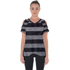 Stripes2 Black Marble & Gray Leather Cut Out Side Drop Tee