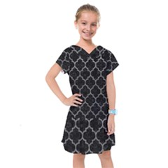 Tile1 Black Marble & Gray Leathertile1 Black Marble & Gray Leather Kids  Drop Waist Dress