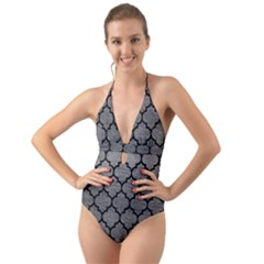 Tile1 Black Marble & Gray Leather (r) Halter Cut Out One Piece Swimsuit