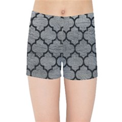 Tile1 Black Marble & Gray Leather (r) Kids Sports Shorts