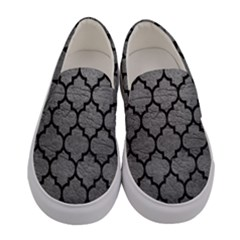 Tile1 Black Marble & Gray Leather (r) Women s Canvas Slip Ons