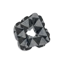 Triangle2 Black Marble & Gray Leather Velvet Scrunchie by trendistuff