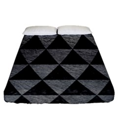 Triangle3 Black Marble & Gray Leather Fitted Sheet (queen Size) by trendistuff