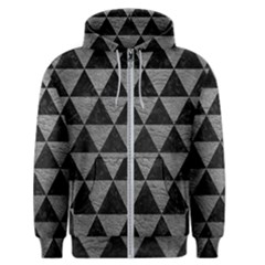 Triangle3 Black Marble & Gray Leather Men s Zipper Hoodie by trendistuff