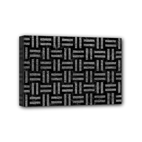 Woven1 Black Marble & Gray Leather Mini Canvas 6  X 4  by trendistuff