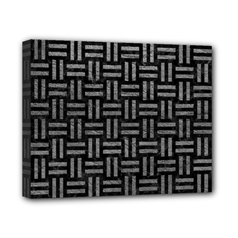 Woven1 Black Marble & Gray Leather Canvas 10  X 8  by trendistuff