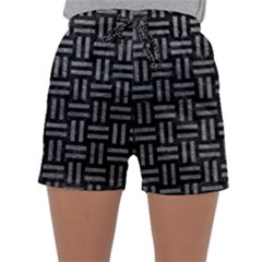 Woven1 Black Marble & Gray Leather Sleepwear Shorts