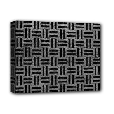 Woven1 Black Marble & Gray Leather (r) Deluxe Canvas 14  X 11  by trendistuff