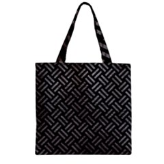 Woven2 Black Marble & Gray Leather Zipper Grocery Tote Bag by trendistuff