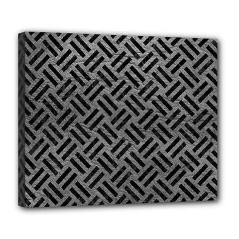 Woven2 Black Marble & Gray Leather (r) Deluxe Canvas 24  X 20   by trendistuff