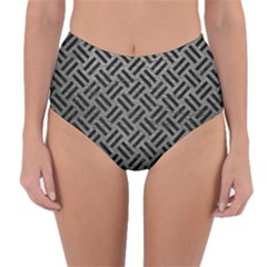 Woven2 Black Marble & Gray Leather (r) Reversible High Waist Bikini Bottoms
