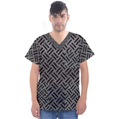 Woven2 Black Marble & Gray Leather (r) Men s V Neck Scrub Top