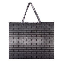 Brick1 Black Marble & Gray Metal 1 (r) Zipper Large Tote Bag by trendistuff
