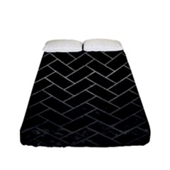 Brick2 Black Marble & Gray Metal 1 Fitted Sheet (full/ Double Size) by trendistuff