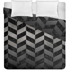 Chevron1 Black Marble & Gray Metal 1 Duvet Cover Double Side (king Size) by trendistuff
