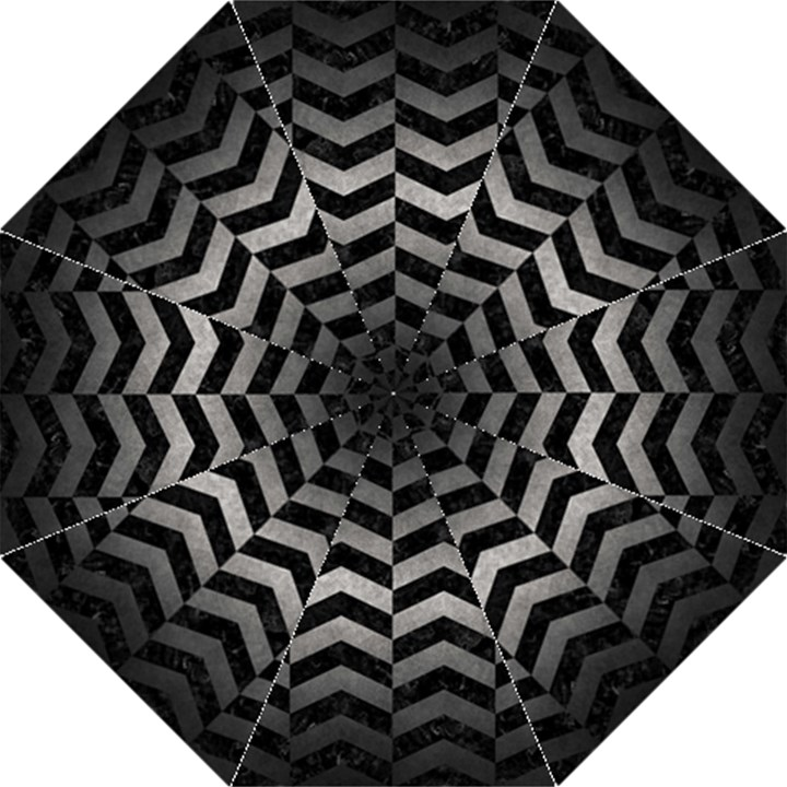 CHEVRON2 BLACK MARBLE & GRAY METAL 1 Folding Umbrellas